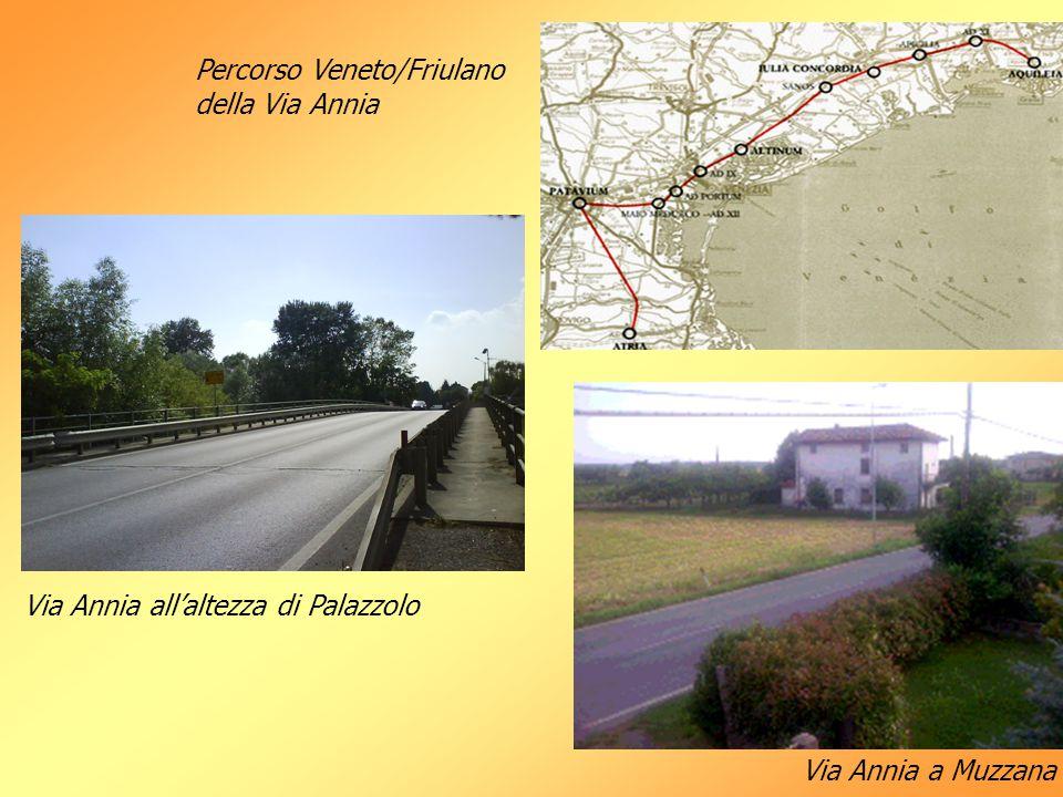 Percorso Veneto/Friulano della Via Annia Via Annia all'altezza di Palazzolo Via Annia a Muzzana