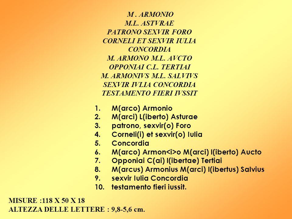 M. ARMONIO M.L. ASTVRAE PATRONO SEXVIR FORO CORNELI ET SEXVIR IULIA CONCORDIA M. ARMONO M.L. AVCTO OPPONIAI C.L. TERTIAI M. ARMONIVS M.L. SALVIVS SEXV