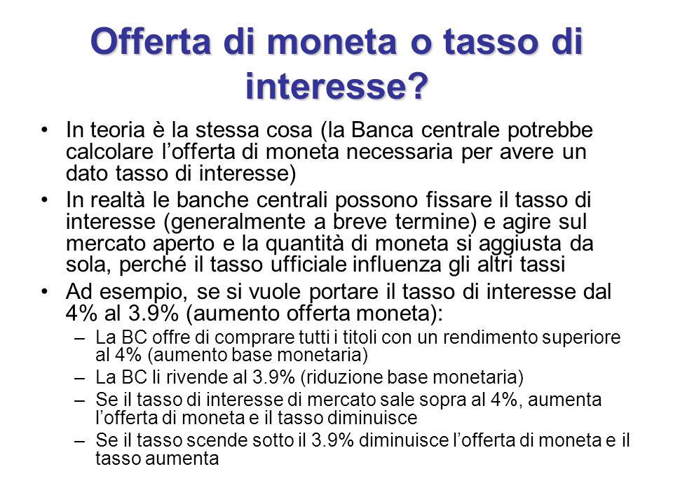 Offerta di moneta o tasso di interesse.