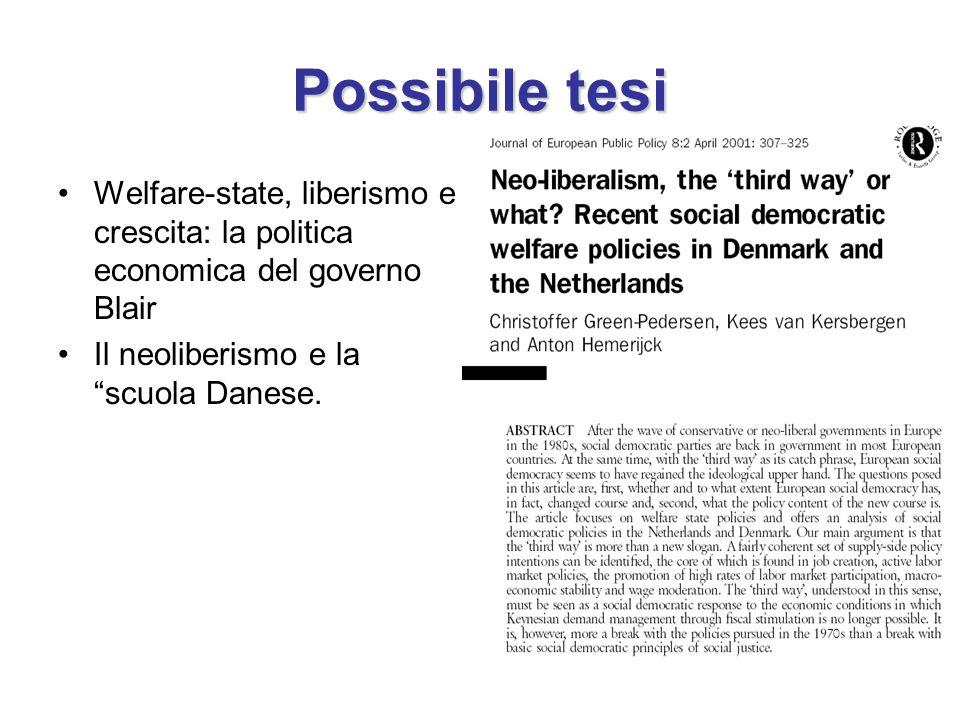 Possibile tesi Welfare-state, liberismo e crescita: la politica economica del governo Blair Il neoliberismo e la scuola Danese.