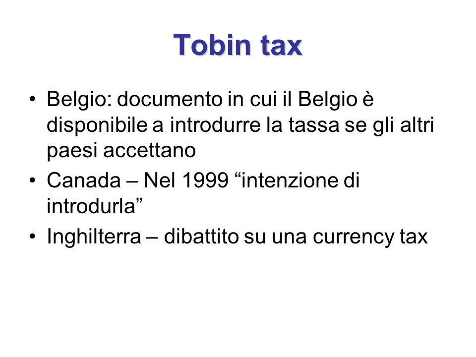 Tobin tax Belgio: documento in cui il Belgio è disponibile a introdurre la tassa se gli altri paesi accettano Canada – Nel 1999 intenzione di introdurla Inghilterra – dibattito su una currency tax