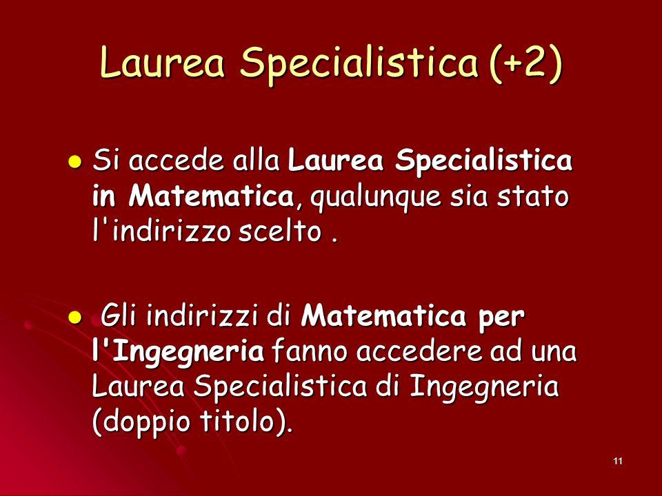 11 Laurea Specialistica (+2) Si accede alla Laurea Specialistica in Matematica, qualunque sia stato l'indirizzo scelto. Si accede alla Laurea Speciali