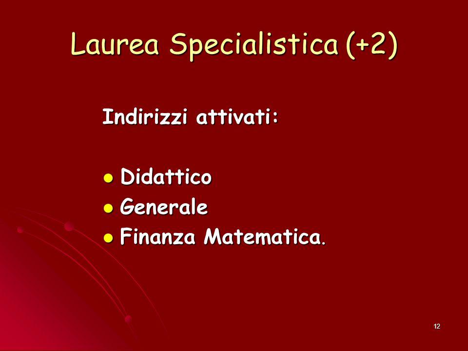 12 Laurea Specialistica (+2) Indirizzi attivati: Didattico Didattico Generale Generale Finanza Matematica. Finanza Matematica.