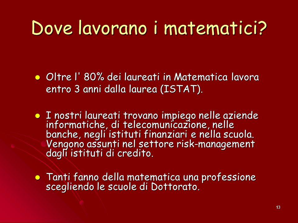 13 Dove lavorano i matematici? Oltre l' 80% dei laureati in Matematica lavora entro 3 anni dalla laurea (ISTAT). Oltre l' 80% dei laureati in Matemati