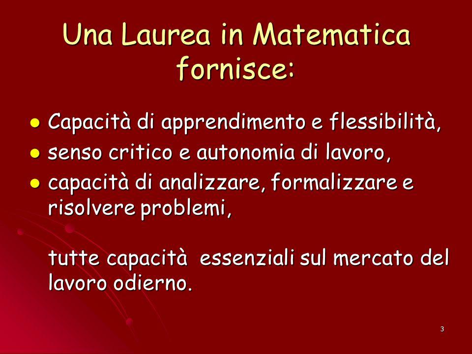 3 Una Laurea in Matematica fornisce: Capacità di apprendimento e flessibilità, Capacità di apprendimento e flessibilità, senso critico e autonomia di