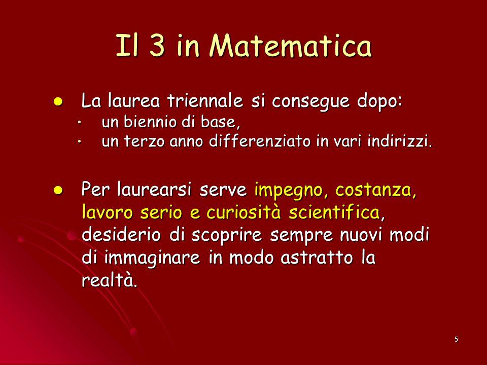 5 Il 3 in Matematica La laurea triennale si consegue dopo: La laurea triennale si consegue dopo: un biennio di base, un biennio di base, un terzo anno