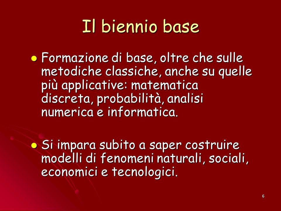 6 Il biennio base Formazione di base, oltre che sulle metodiche classiche, anche su quelle più applicative: matematica discreta, probabilità, analisi