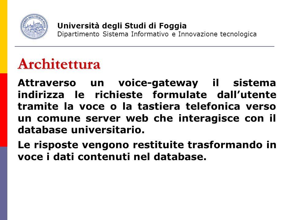 Architettura Attraverso un voice-gateway il sistema indirizza le richieste formulate dall'utente tramite la voce o la tastiera telefonica verso un comune server web che interagisce con il database universitario.