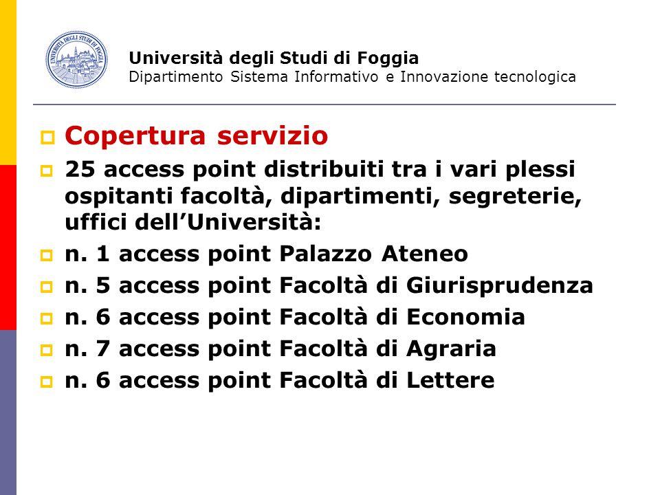  Copertura servizio  25 access point distribuiti tra i vari plessi ospitanti facoltà, dipartimenti, segreterie, uffici dell'Università:  n.