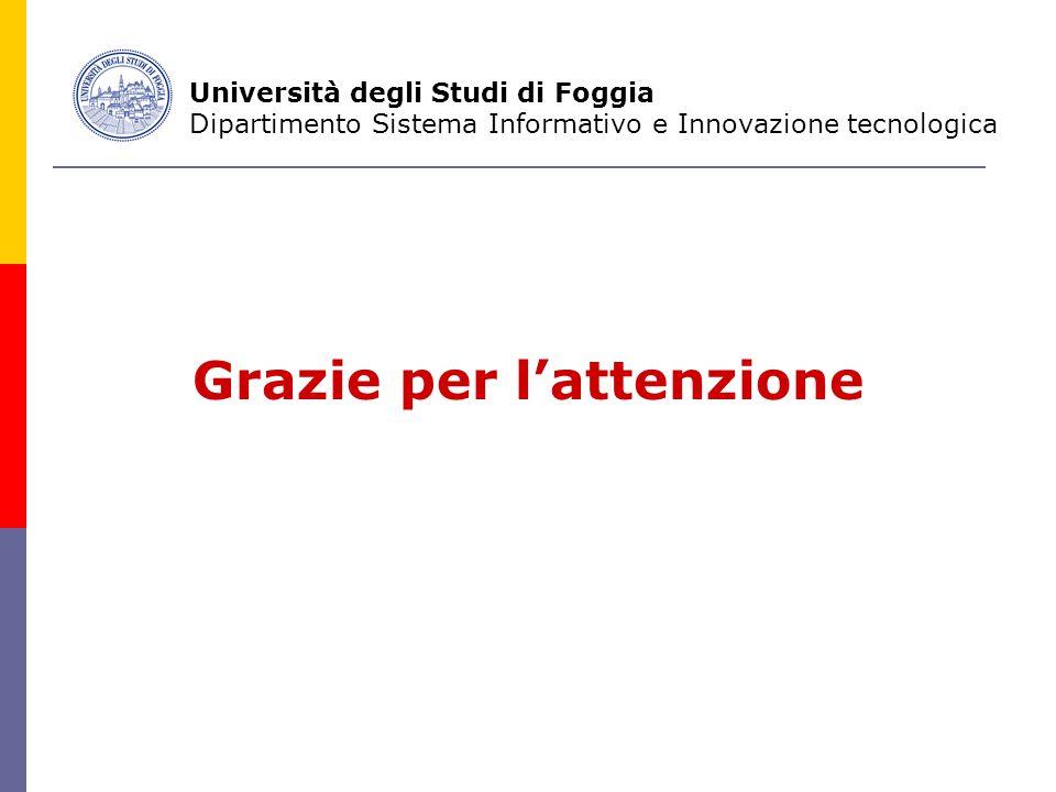 Grazie per l'attenzione Università degli Studi di Foggia Dipartimento Sistema Informativo e Innovazione tecnologica