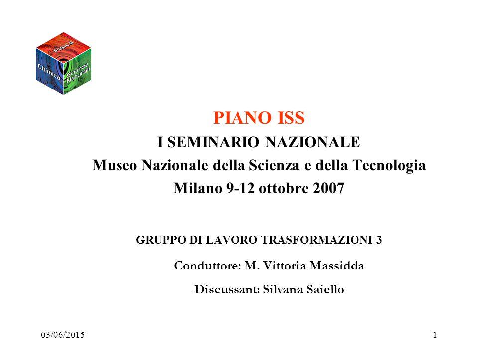 03/06/20151 PIANO ISS I SEMINARIO NAZIONALE Museo Nazionale della Scienza e della Tecnologia Milano 9-12 ottobre 2007 GRUPPO DI LAVORO TRASFORMAZIONI 3 Conduttore: M.