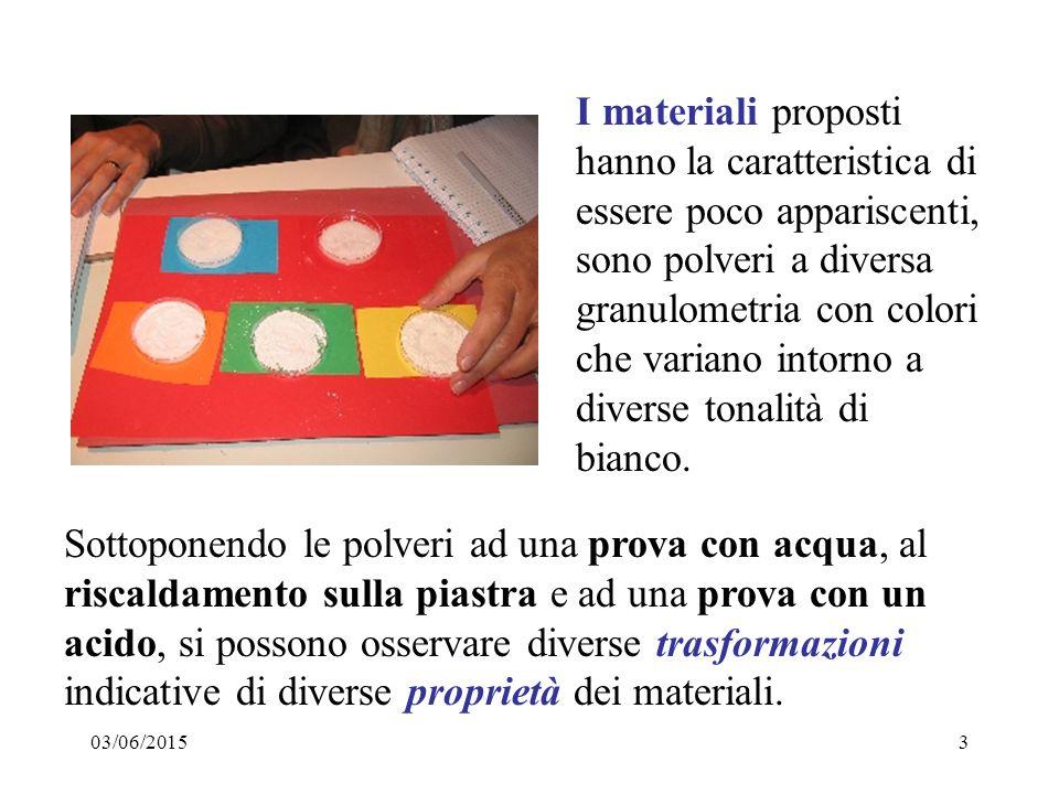 03/06/20153 I materiali proposti hanno la caratteristica di essere poco appariscenti, sono polveri a diversa granulometria con colori che variano intorno a diverse tonalità di bianco.