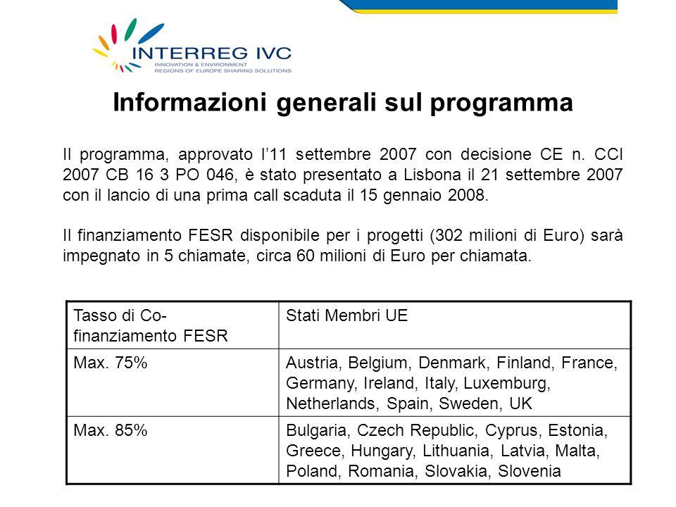 Per l'Italia è previsto un tasso di cofinanziamento FESR del 75%.