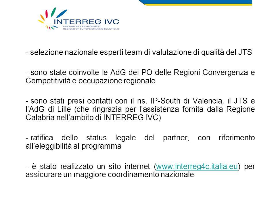 - selezione nazionale esperti team di valutazione di qualità del JTS - sono state coinvolte le AdG dei PO delle Regioni Convergenza e Competitività e occupazione regionale - sono stati presi contatti con il ns.