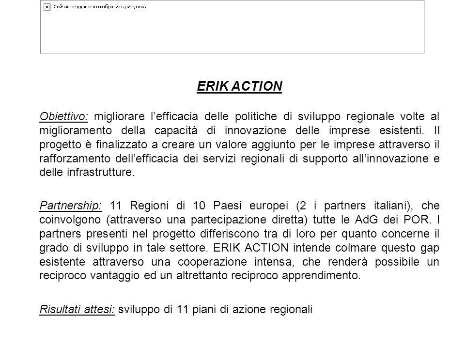 ERIK ACTION Obiettivo: migliorare l'efficacia delle politiche di sviluppo regionale volte al miglioramento della capacità di innovazione delle imprese esistenti.