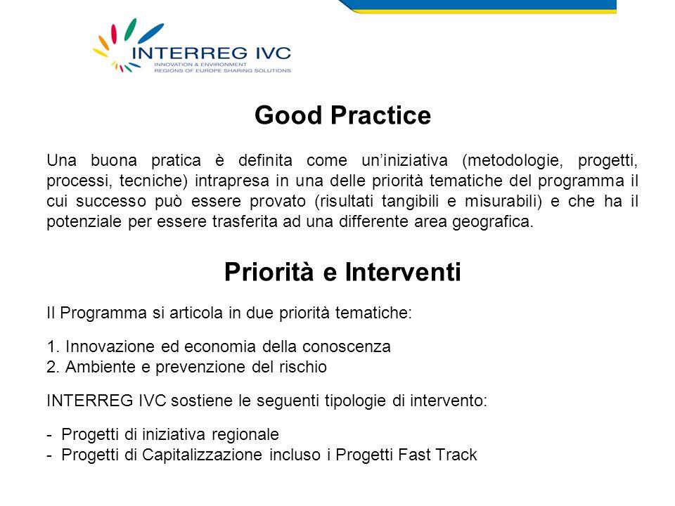 Good Practice Una buona pratica è definita come un'iniziativa (metodologie, progetti, processi, tecniche) intrapresa in una delle priorità tematiche del programma il cui successo può essere provato (risultati tangibili e misurabili) e che ha il potenziale per essere trasferita ad una differente area geografica.