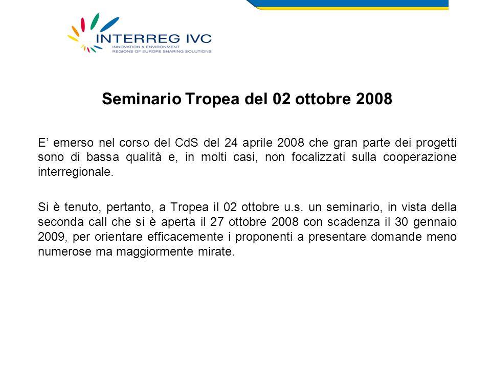 Seminario Tropea del 02 ottobre 2008 E' emerso nel corso del CdS del 24 aprile 2008 che gran parte dei progetti sono di bassa qualità e, in molti casi, non focalizzati sulla cooperazione interregionale.