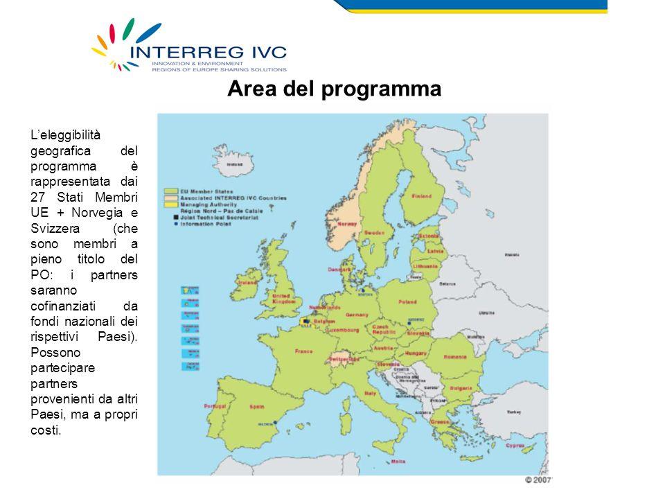 Area del programma L'eleggibilità geografica del programma è rappresentata dai 27 Stati Membri UE + Norvegia e Svizzera (che sono membri a pieno titolo del PO: i partners saranno cofinanziati da fondi nazionali dei rispettivi Paesi).