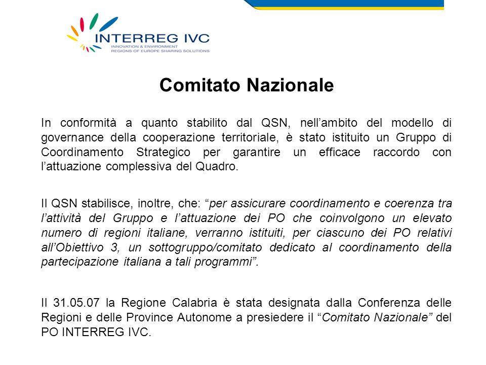 Comitato Nazionale In conformità a quanto stabilito dal QSN, nell'ambito del modello di governance della cooperazione territoriale, è stato istituito un Gruppo di Coordinamento Strategico per garantire un efficace raccordo con l'attuazione complessiva del Quadro.