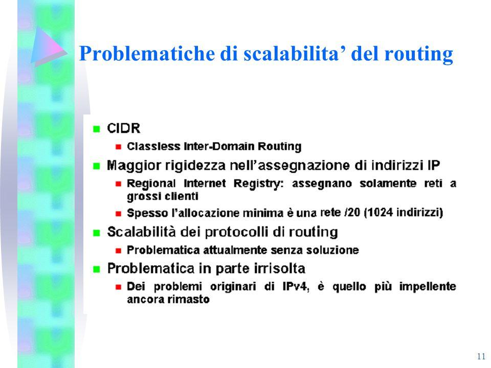 11 Problematiche di scalabilita' del routing