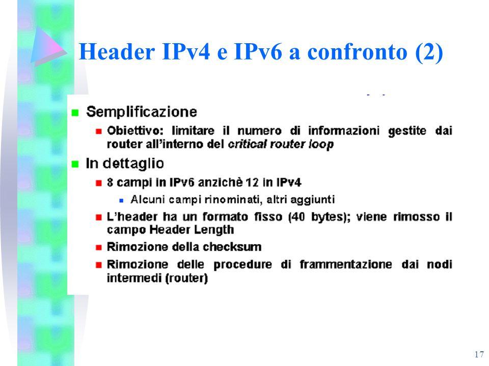 17 Header IPv4 e IPv6 a confronto (2)