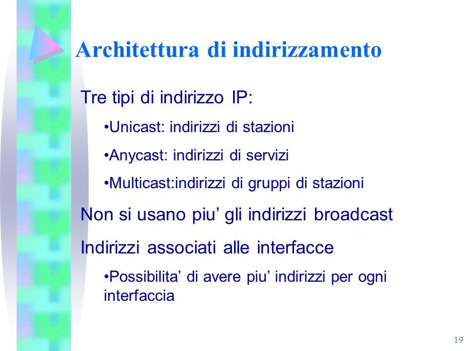 19 Architettura di indirizzamento Tre tipi di indirizzo IP: Unicast: indirizzi di stazioni Anycast: indirizzi di servizi Multicast:indirizzi di gruppi