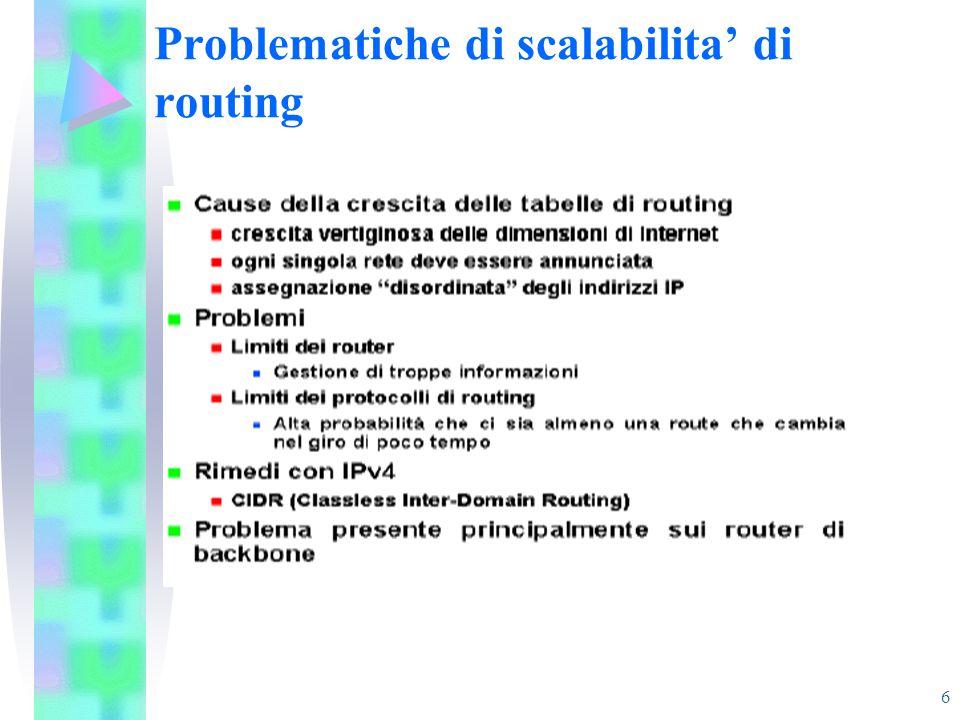 6 Problematiche di scalabilita' di routing