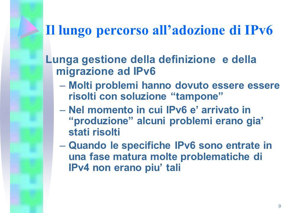 9 Il lungo percorso all'adozione di IPv6 Lunga gestione della definizione e della migrazione ad IPv6 –Molti problemi hanno dovuto essere essere risolt