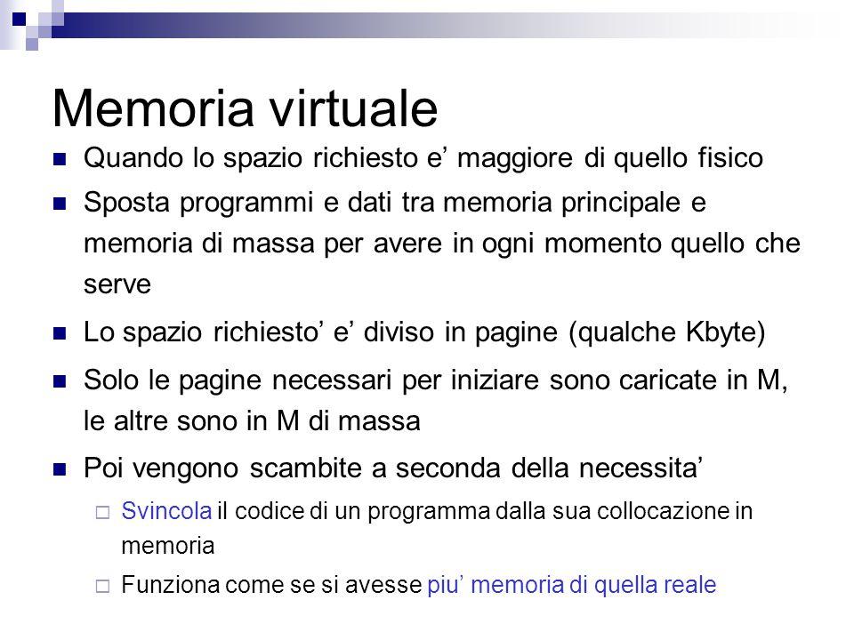Memoria virtuale Quando lo spazio richiesto e' maggiore di quello fisico Sposta programmi e dati tra memoria principale e memoria di massa per avere in ogni momento quello che serve Lo spazio richiesto' e' diviso in pagine (qualche Kbyte) Solo le pagine necessari per iniziare sono caricate in M, le altre sono in M di massa Poi vengono scambite a seconda della necessita'  Svincola il codice di un programma dalla sua collocazione in memoria  Funziona come se si avesse piu' memoria di quella reale