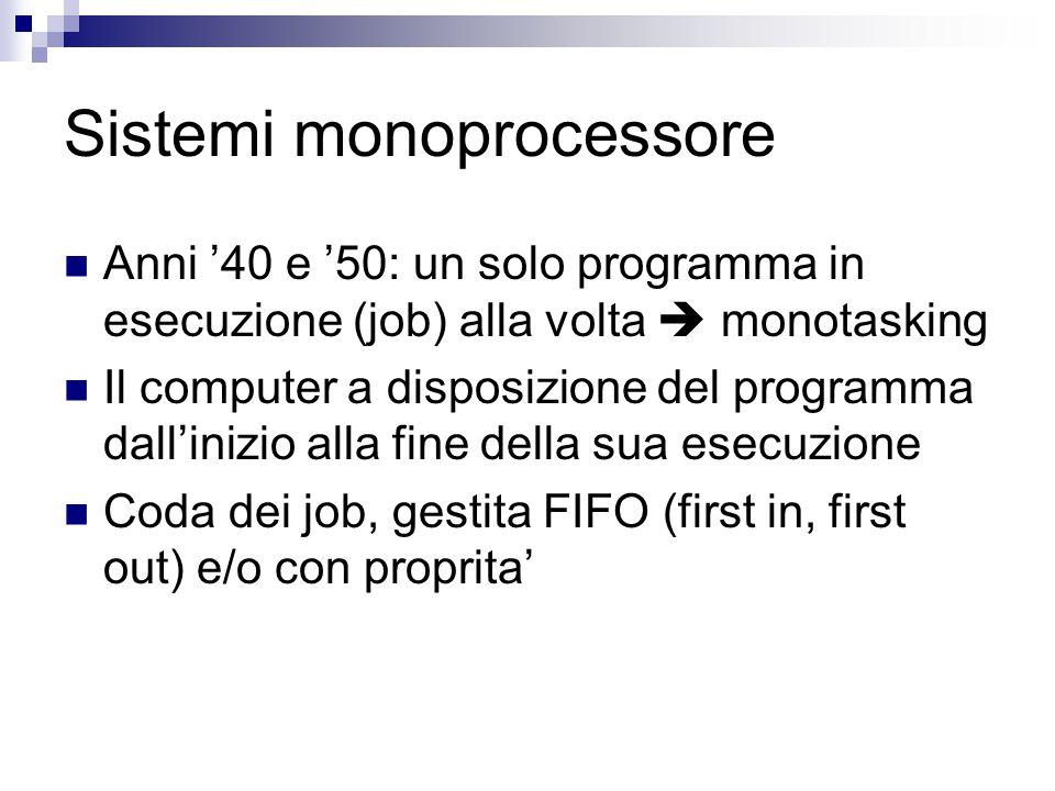 Sistemi monoprocessore Anni '40 e '50: un solo programma in esecuzione (job) alla volta  monotasking Il computer a disposizione del programma dall'inizio alla fine della sua esecuzione Coda dei job, gestita FIFO (first in, first out) e/o con proprita'