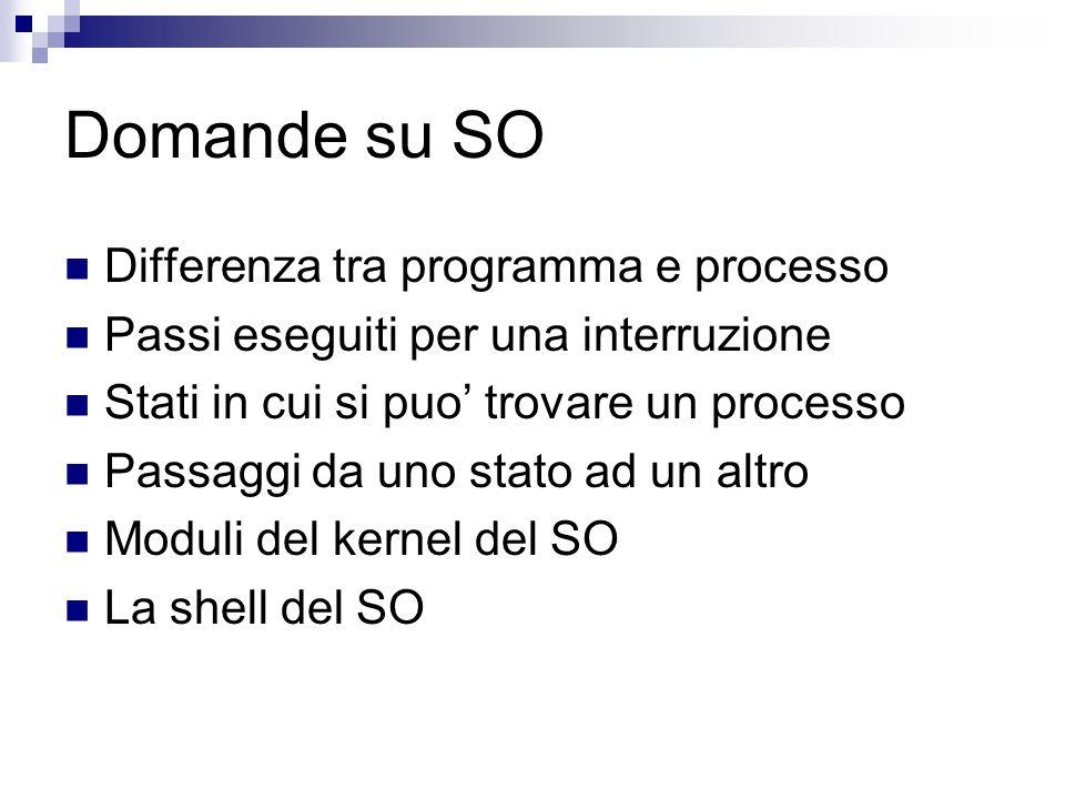 Domande su SO Differenza tra programma e processo Passi eseguiti per una interruzione Stati in cui si puo' trovare un processo Passaggi da uno stato ad un altro Moduli del kernel del SO La shell del SO
