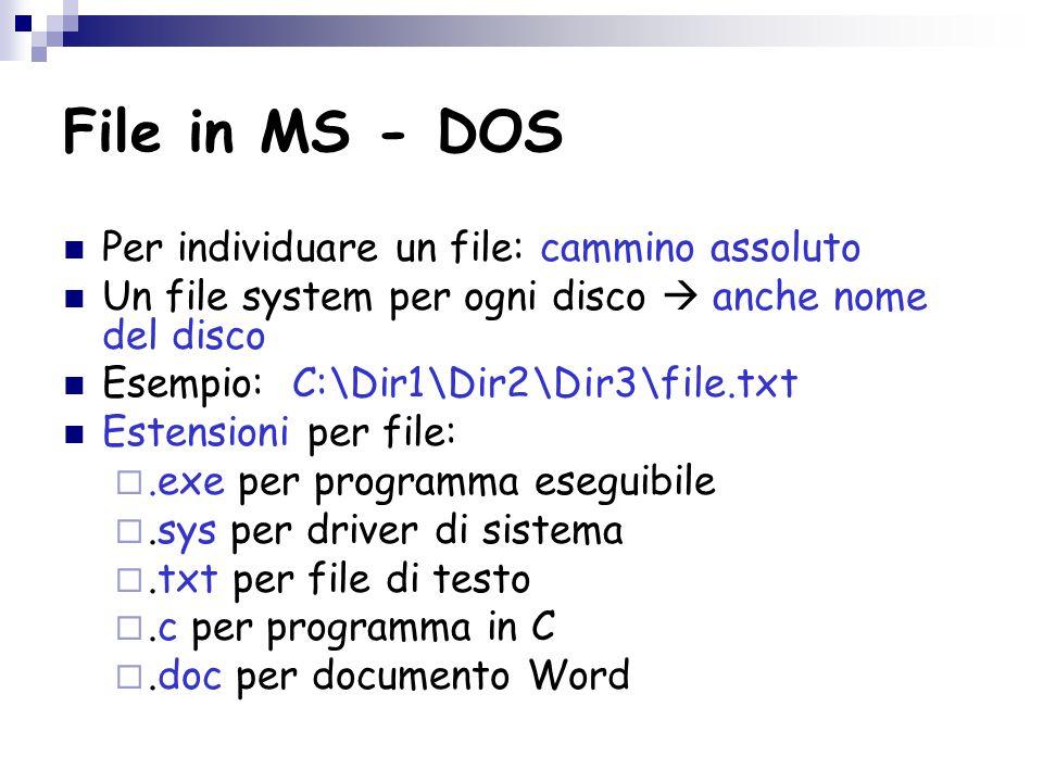 File in MS - DOS Per individuare un file: cammino assoluto Un file system per ogni disco  anche nome del disco Esempio: C:\Dir1\Dir2\Dir3\file.txt Estensioni per file: .exe per programma eseguibile .sys per driver di sistema .txt per file di testo .c per programma in C .doc per documento Word