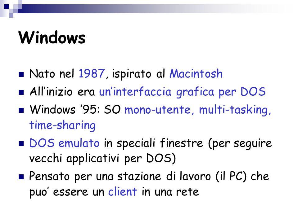 Windows Nato nel 1987, ispirato al Macintosh All'inizio era un'interfaccia grafica per DOS Windows '95: SO mono-utente, multi-tasking, time-sharing DOS emulato in speciali finestre (per seguire vecchi applicativi per DOS) Pensato per una stazione di lavoro (il PC) che puo' essere un client in una rete