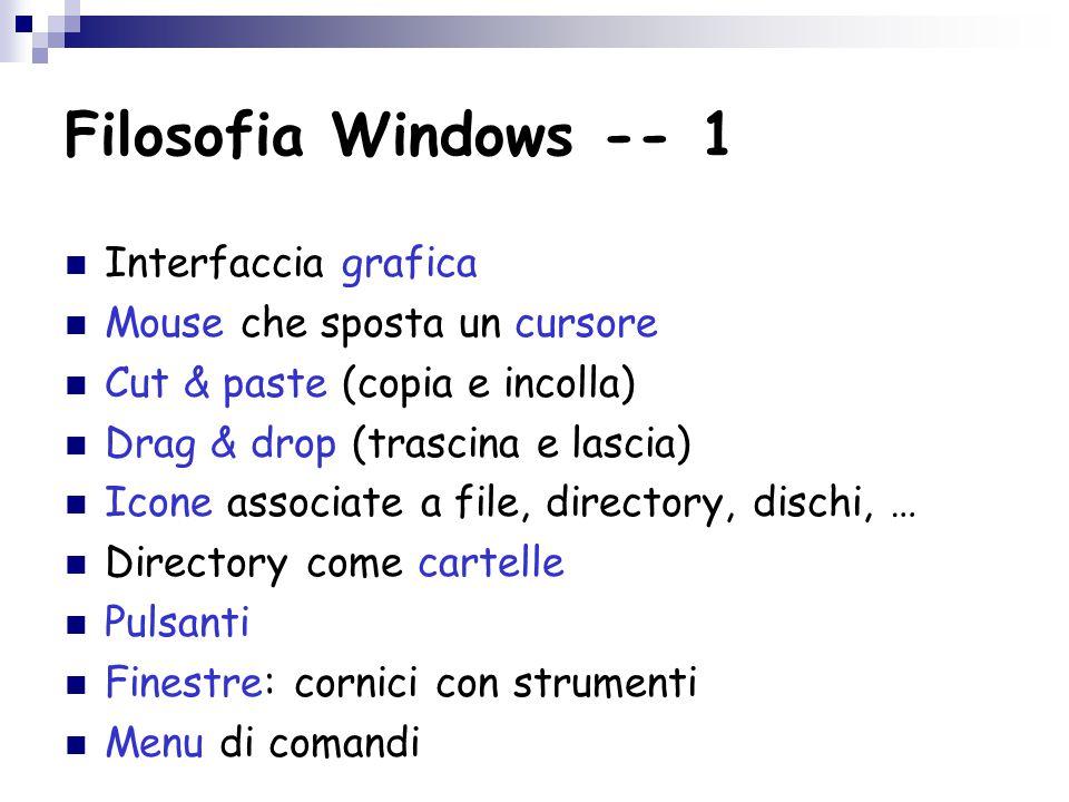 Filosofia Windows -- 1 Interfaccia grafica Mouse che sposta un cursore Cut & paste (copia e incolla) Drag & drop (trascina e lascia) Icone associate a file, directory, dischi, … Directory come cartelle Pulsanti Finestre: cornici con strumenti Menu di comandi