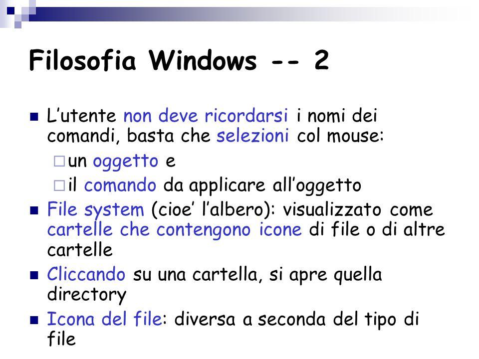 Filosofia Windows -- 2 L'utente non deve ricordarsi i nomi dei comandi, basta che selezioni col mouse:  un oggetto e  il comando da applicare all'oggetto File system (cioe' l'albero): visualizzato come cartelle che contengono icone di file o di altre cartelle Cliccando su una cartella, si apre quella directory Icona del file: diversa a seconda del tipo di file