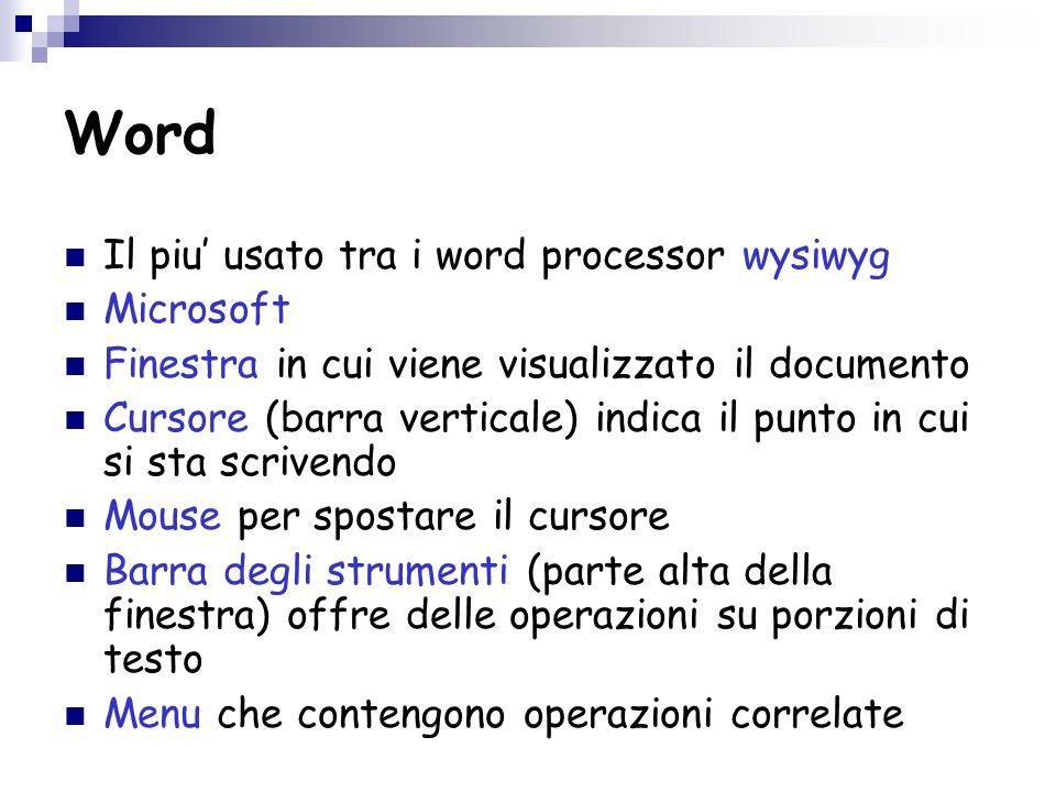 Word Il piu' usato tra i word processor wysiwyg Microsoft Finestra in cui viene visualizzato il documento Cursore (barra verticale) indica il punto in cui si sta scrivendo Mouse per spostare il cursore Barra degli strumenti (parte alta della finestra) offre delle operazioni su porzioni di testo Menu che contengono operazioni correlate