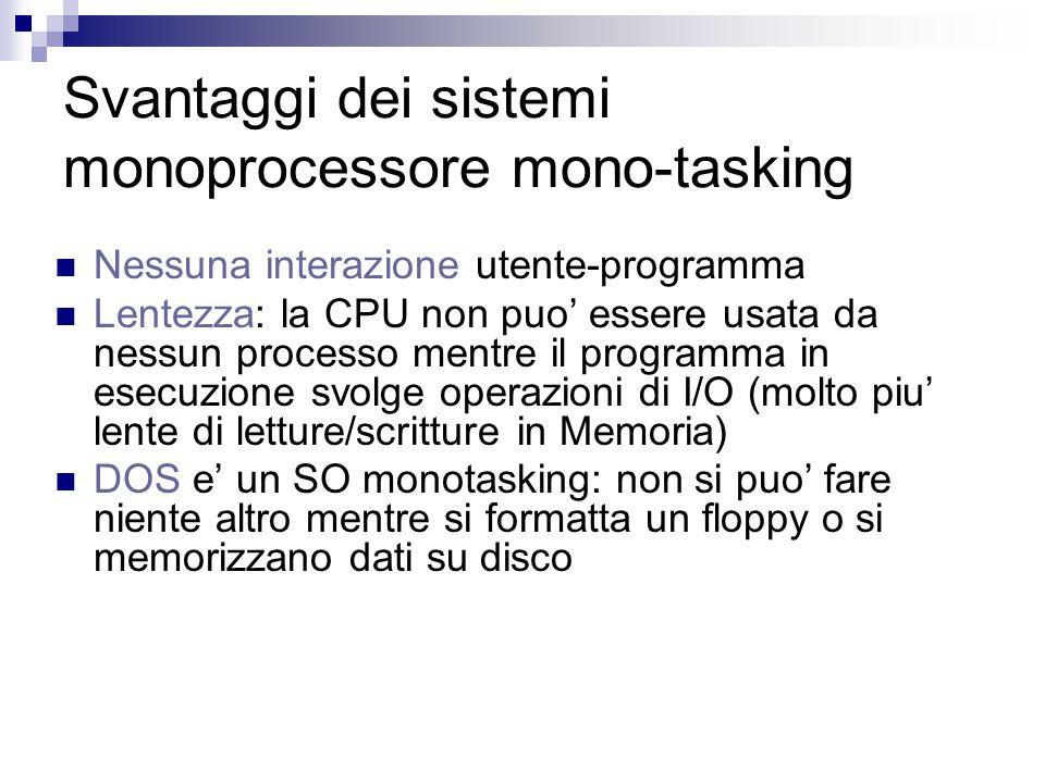 Svantaggi dei sistemi monoprocessore mono-tasking Nessuna interazione utente-programma Lentezza: la CPU non puo' essere usata da nessun processo mentre il programma in esecuzione svolge operazioni di I/O (molto piu' lente di letture/scritture in Memoria) DOS e' un SO monotasking: non si puo' fare niente altro mentre si formatta un floppy o si memorizzano dati su disco
