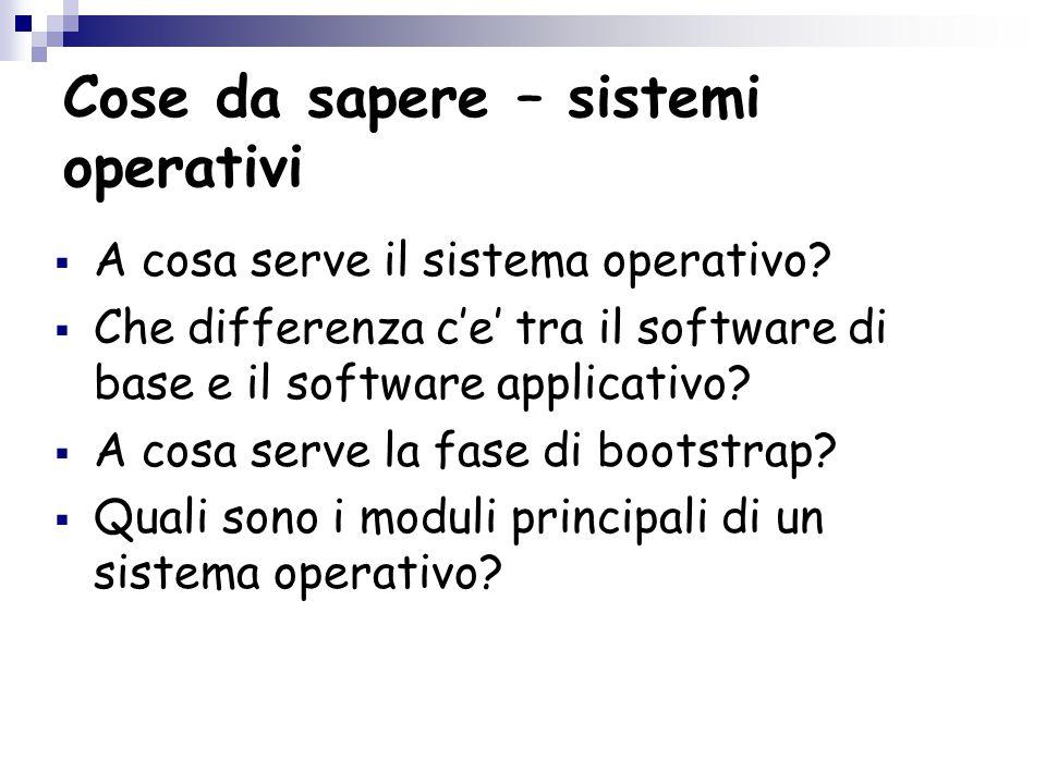 Cose da sapere – sistemi operativi  A cosa serve il sistema operativo.