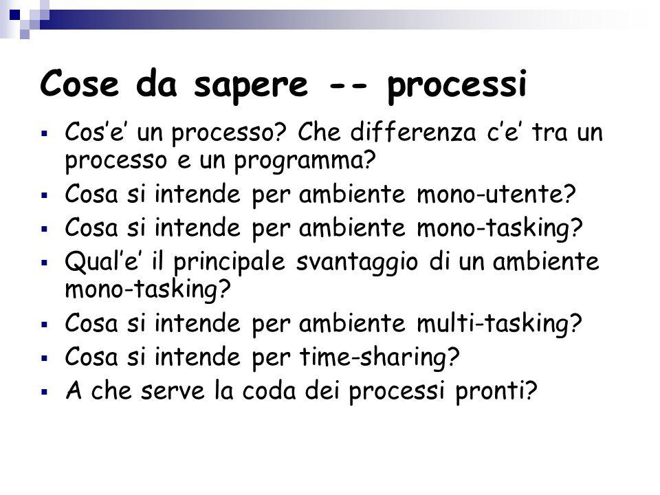 Cose da sapere -- processi  Cos'e' un processo.