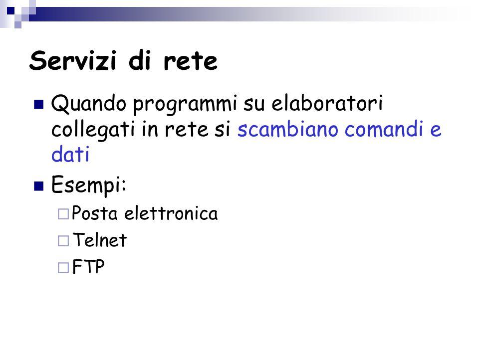 Servizi di rete Quando programmi su elaboratori collegati in rete si scambiano comandi e dati Esempi:  Posta elettronica  Telnet  FTP