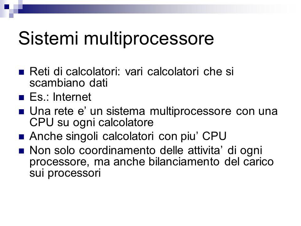 Sistemi multiprocessore Reti di calcolatori: vari calcolatori che si scambiano dati Es.: Internet Una rete e' un sistema multiprocessore con una CPU su ogni calcolatore Anche singoli calcolatori con piu' CPU Non solo coordinamento delle attivita' di ogni processore, ma anche bilanciamento del carico sui processori