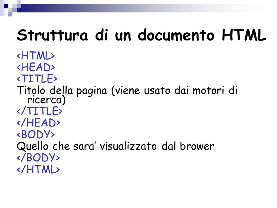 Struttura di un documento HTML Titolo della pagina (viene usato dai motori di ricerca) Quello che sara' visualizzato dal brower