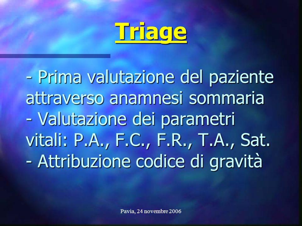 Pavia, 24 novembre 2006 - Prima valutazione del paziente attraverso anamnesi sommaria - Valutazione dei parametri vitali: P.A., F.C., F.R., T.A., Sat.