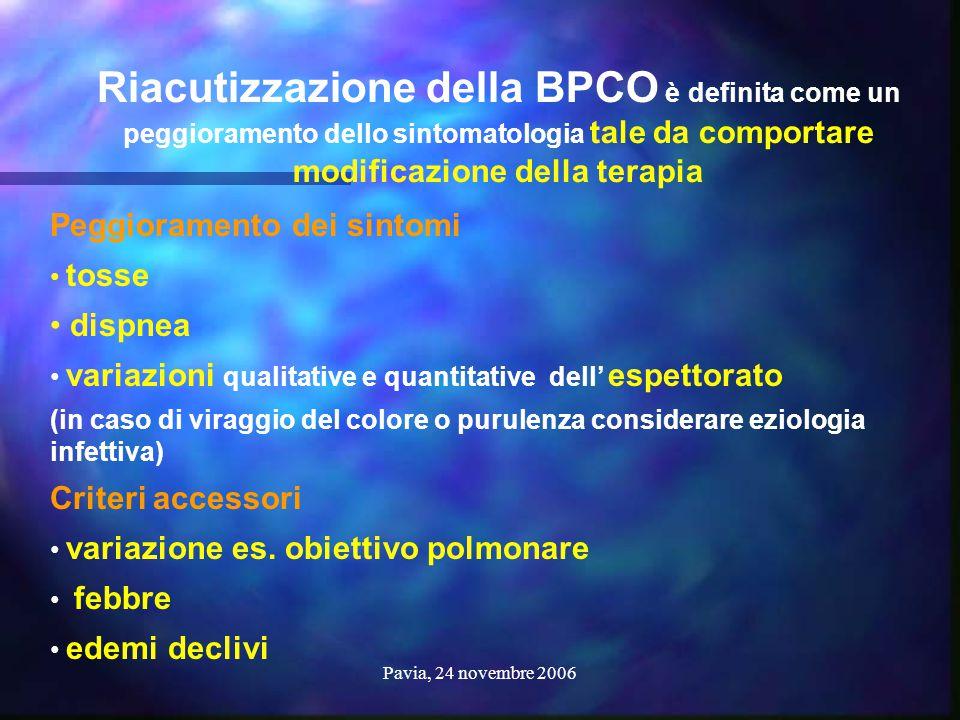 Pavia, 24 novembre 2006 Peggioramento dei sintomi tosse dispnea variazioni qualitative e quantitative dell' espettorato (in caso di viraggio del color