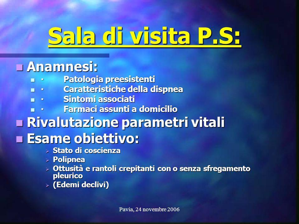 Pavia, 24 novembre 2006 Sala di visita P.S: Anamnesi: Anamnesi: Patologia preesistenti Patologia preesistenti Caratteristiche della dispnea Caratteris