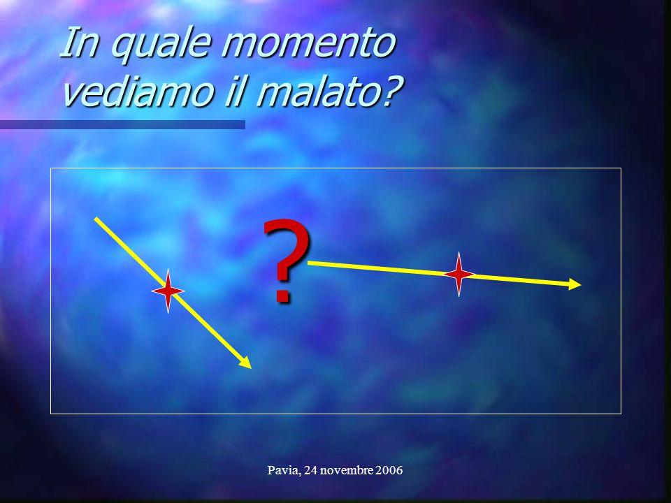 Pavia, 24 novembre 2006 In quale momento vediamo il malato? ?