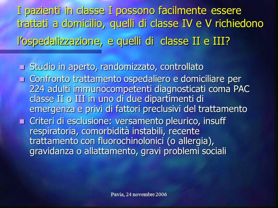 I pazienti in classe I possono facilmente essere trattati a domicilio, quelli di classe IV e V richiedono l'ospedalizzazione, e quelli di classe II e