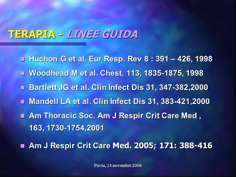 Pavia, 24 novembre 2006 TERAPIA - LINEE GUIDA Huchon G et al. Eur Resp. Rev 8 : 391 – 426, 1998 Huchon G et al. Eur Resp. Rev 8 : 391 – 426, 1998 Wood
