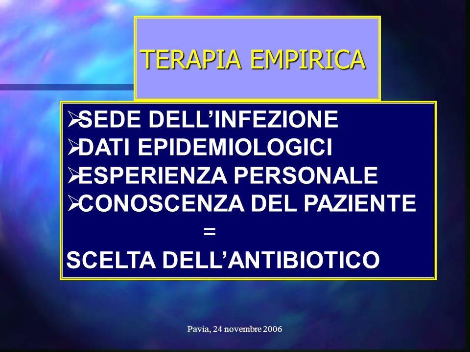 Pavia, 24 novembre 2006 TERAPIA EMPIRICA  SEDE DELL'INFEZIONE  DATI EPIDEMIOLOGICI  ESPERIENZA PERSONALE  CONOSCENZA DEL PAZIENTE = SCELTA DELL'AN
