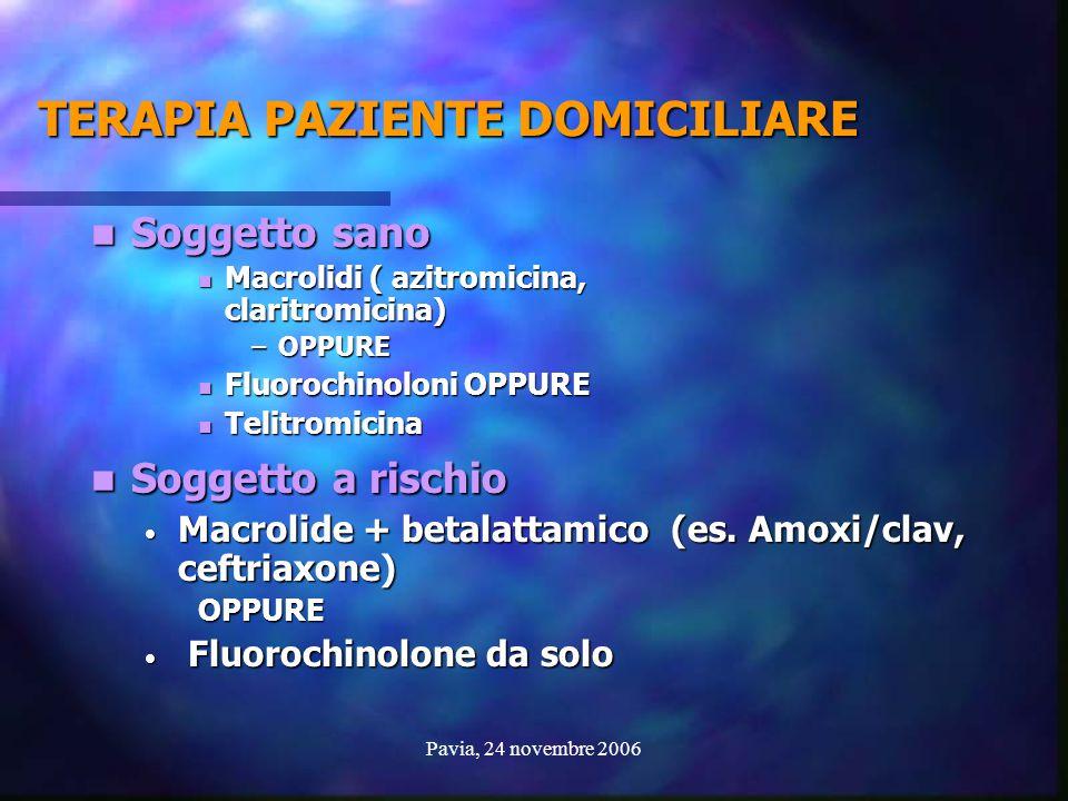 Pavia, 24 novembre 2006 TERAPIA PAZIENTE DOMICILIARE Soggetto sano Soggetto sano Macrolidi ( azitromicina, claritromicina) Macrolidi ( azitromicina, c